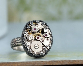 steampunk jewelry, fine jewelry, sterling silver steampunk ring, THE TIME PIECE, vintage Bulova watch movement ring, floral band,