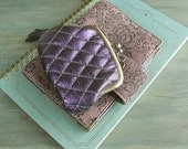 leather coin purse - quilting leather, metalllic purple leather purse, mauve leather, ametyst purple, vintage fabric
