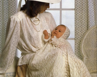 NITTING PATTERN - Christening Dress, Bonnet and Shawl 16 - 18 inch chest Immediate DOWNLOAD