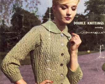 Cardigan Knitting Pattern - Vintage 60s pattern - 34,36 and 38 bust