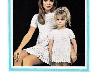 Vintage CROCHET PATTERN for Mother and Daughter dresses