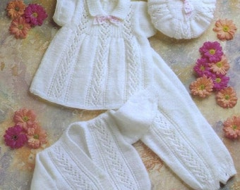 Vintage Baby Pattern -Knitted DK Dress, Beret, Leggings, Jacket/Sweater - 16 to 22 in chest