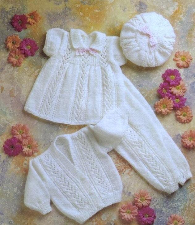 Vintage Baby Pattern Knitted Dk Dress Beret Leggings