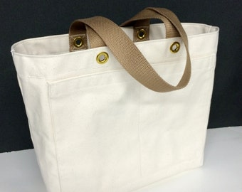 Canvas Tote Bag w/Interior Zippered Pocket, Natural