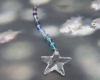 STARGAZER Swarovski Crystal Suncatcher, Crystal Star Prism Sun Catcher, Beaded Sun Catcher Ornament, Rear View Mirror Charm, Hanging Crystal