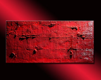 Original Red Textured Abstract Painting Contemporary Wall Art Modern Abstract by Henry Parsinia Large 48x24