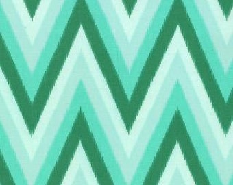 Color Me Happy from V and Co and Moda fabrics, Floral Ikat Chevron Emerald, 1/2 yard total