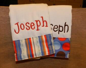 Burp cloth set//personalized burp cloth set//boy burp cloth set //boy baby gift //baby shower gift