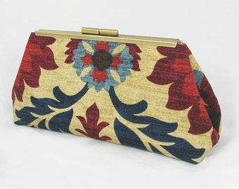 Santamonica clutch lined with contrast color faux silk - Framed Clutch-  Purse - Bag