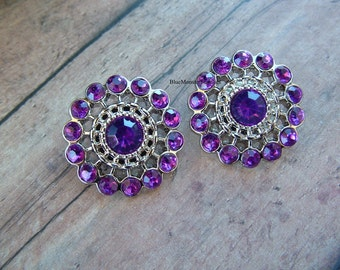 Set of 2 Purple Rhinestone Pinwheel Buttons Free Shipping With 6 Or More Items
