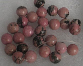 SALE 25 Pink  and Black 9mm  Round Rhodonite Beads