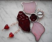 StainedGlass Angel Fairy Deep Red Hearts