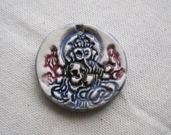 Ganesha ceramic pendant stamped Hindu elephant headed god