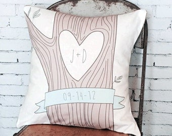 Wedding Gift Cotton Anniversary Gift Heart Tree with Initials Pillow Cover