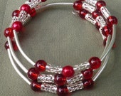 memory wire Bracelet- Hand crafted beaded bracelet-wrap around bracelet- Red Beaded bracelet-