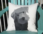 "Dog pillow SCHNAUZER 20""x20"" (50cm) black hand painted indoor outdoor canine best friend Crabby Chris™ Original"