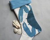 "BLUE CRAB STOCKING 24"" (61cm) coastal beach gulf Atlantic nautical crustacean fisherman boating yachting seafood Scrooge"