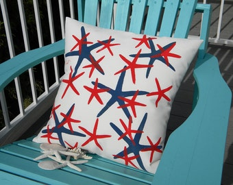 Outdoor pillow STARS ARE OURS starfish patriotic seastars beach house choose any color finger star painted coastal Crabby Chris Original