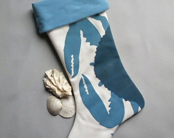"BLUE CRAB STOCKING 24"" (61cm) coastal beach gulf Atlantic nautical crustacean fisherman boating yachting seafood Scrooge"