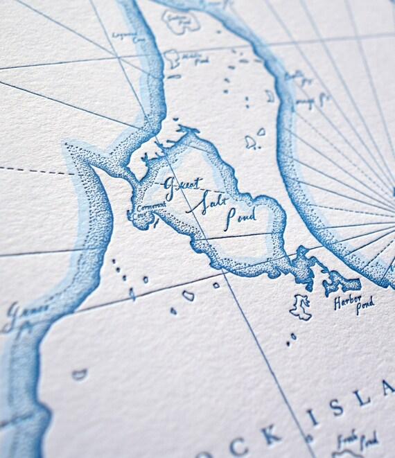 Block Island, Rhode Island Letterpress Printed Map