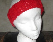 Wearable Art Headband Hand Knitted in the Cable pattern Red, Light Green or Dark Green
