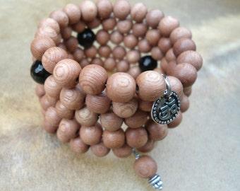 Aum 108 Bead Mala Bracelet  Rosewood Mala  Japa Mala  Zen Meditation Buddhist Mala  OM Jewelry Wrist Mala  Black Onyx  Prayer Bead Bracelet