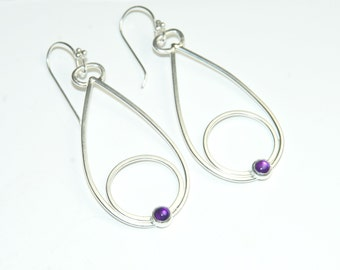 Purple Amethyst Earrings - February Birthstone - Purple Gemstone - Long Dangle Earrings - Modern - Geometric