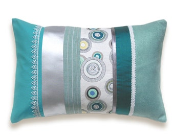 Turquoise Teal Duck Egg Blue Silver White Lumbar Pillow Case 12 x 18 in IRMA DESIGN Limited Edition