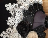 Beautiful detachable collar made from men's necktie with cream lace and flowers for embleishment.