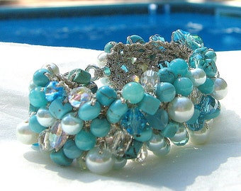 OCEAN Blue, Turquoise, White Pearl Crystal BEACH WEDDING bracelet Cuff, Destination Bride, Bridesmaid, Semi Precious, Hand Knit