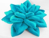 Blue Pillow-Velvet Pillow-Lotus Shaped Decorative Pillow-Designer Pillow