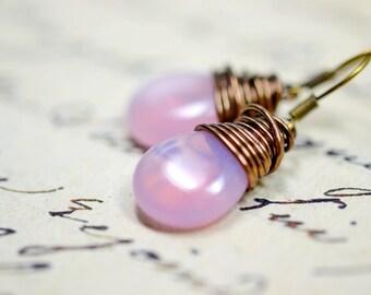 Petal Pink Earrings / Pink Opal Drops / Blush Earrings / Pink Jewelry / Simple Wire Wrap Earrings, Pink Wrapped Earrings, Glass Dangles