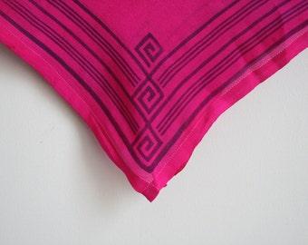 Vintage Silk Scarf - Mod Square Scarf - Op Art - Magenta