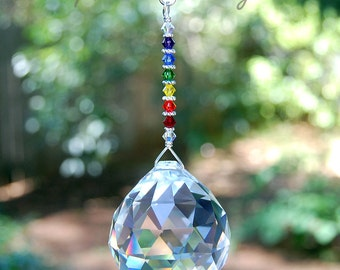Swarovski Rainbow Crystal Suncatcher, Large Hanging Crystal Prism Rainbow Maker, Light Catcher, Crystal Ball, Spectrum, Home Decor