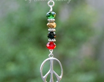 Rasta Peace Sign Rearview Car Charm or Home Decor Last One!
