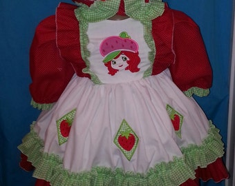 Boutique OOAK Larger Sizes Fancy Strawberry Shortcake Dress Set