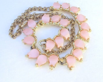 Necklace, Pink Lucite, Thermo, Vintage