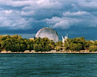 Future City Architecture Geodesic Dome Montréal Island Grey Blue Storm Clouds Forest Water Waves Expo 67 Biosphere Photography Color Print