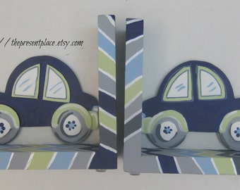Hand painted car bookends,navy,sage green,zigzags to match bedding,bookends for boys,baby,kids book ends,children's bookends,personalized