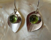 Sterling Silver Peridot Petal Earrings - Rose Cut Peridot Dangles - Green Stone Earrings - August Birthstone - Metalsmith Earrings