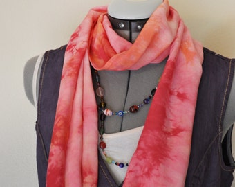 """Red Dyed Rayon Cotton SCARF - Pink Orange Red Hand Dyed Hand Made Tie Dye Rayon Scarf  #68 - 11 x 54"""""""