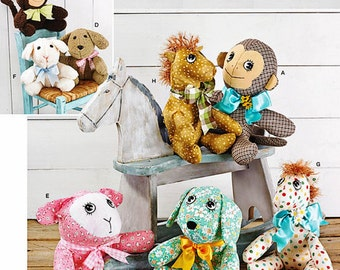 Easy Stuffed Animals Pattern, 2 Piece Stuffed Animals Pattern, Easy Stuffed Toy Pattern, Simplicity Sewing Pattern 1603