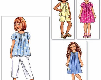 Girls' Dress Pattern, Girls' Top and Capri Pants Pattern, Pull on Shorts Pattern, Butterick Sewing Pattern 4176