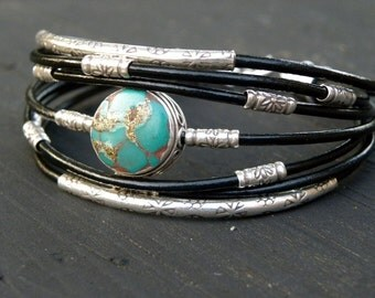 Turquoise  Bracelet Black Leather and Sterling Silver Natural Turquoise Handcrafted Multiple Strands Bangle