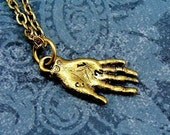 Palm Reader Necklace, Gold Palm Reading Hand Charm on a Gold Cable Chain