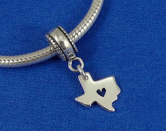 State of Texas with Heart European Dangle Bead Charm - Sterling Silver Texas Charm for European Bracelet