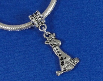 Baby Giraffe European Dangle Bead Charm - Silver Baby Giraffe Charm for European Bracelet