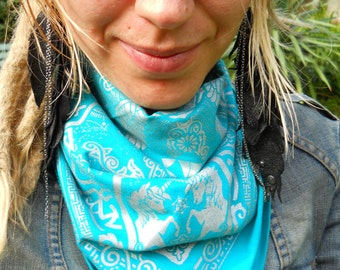 Unicorn Bandana - Teal and Silver