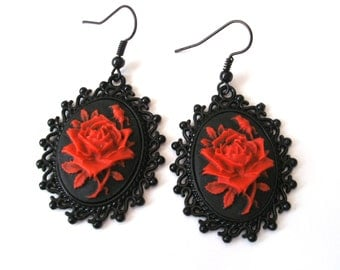Gothic Rose Earrings in Black, Red Rose Cameo Earrings, Black, Sterling Silver, Surgical Steel or Silver Plated Ear Wires