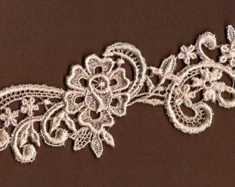 Hand Dyed Floral Venise Lace Applique Petite Rose Scroll Vanilla Blush